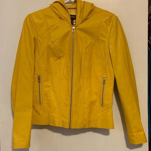 Danier yellow leather jacket with hood, size small